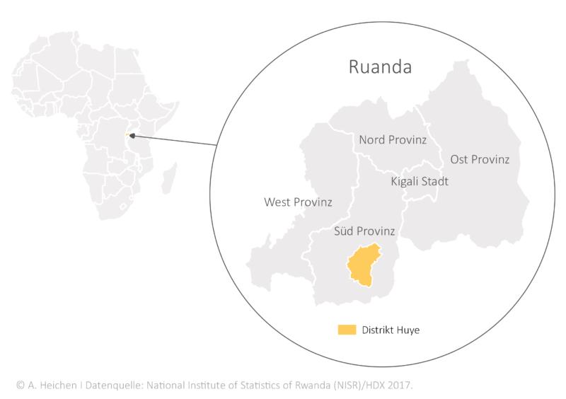 Lage Distrikt Huye, Südprovinz Ruanda