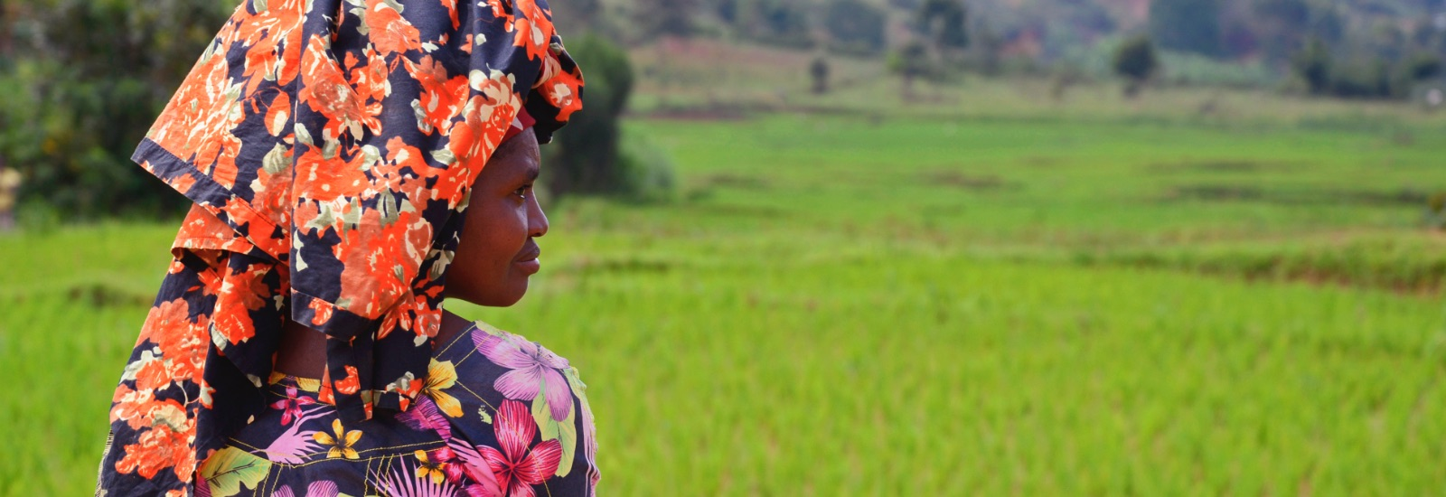 Frau mit Kopftuch blickt in die Landschaft